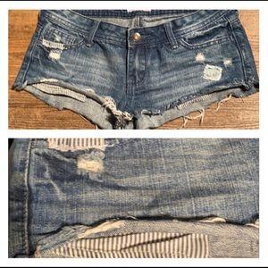(3) Jean Shorts- Raw edge w/ patch &distressed
